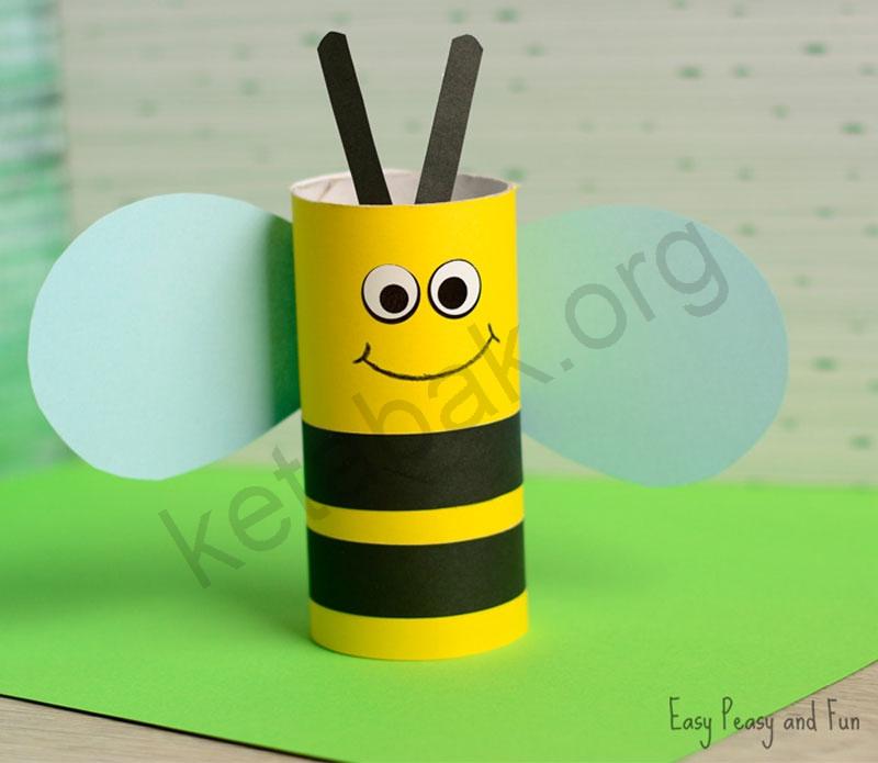 ساخت کاردستی زنبور با رول دستمال توالت