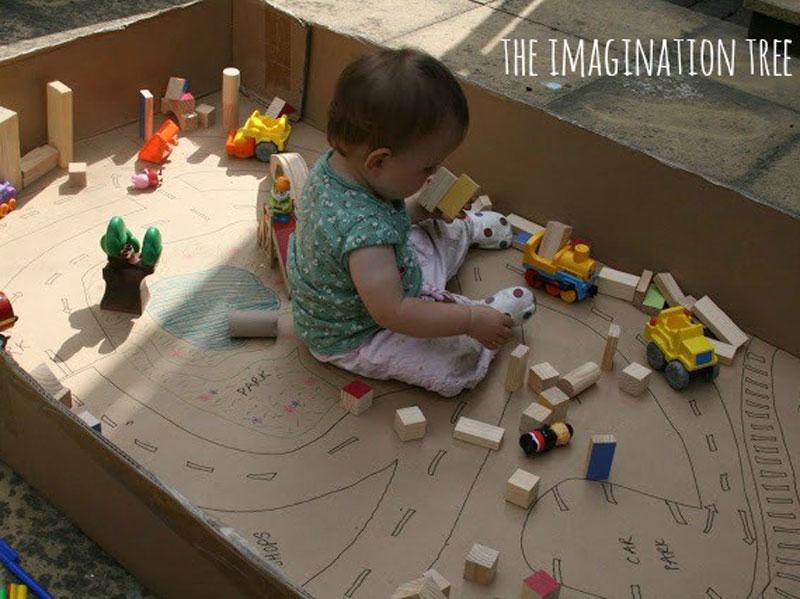 بازی های خلاق برای کودکان؛ شهری در جعبه مقوایی