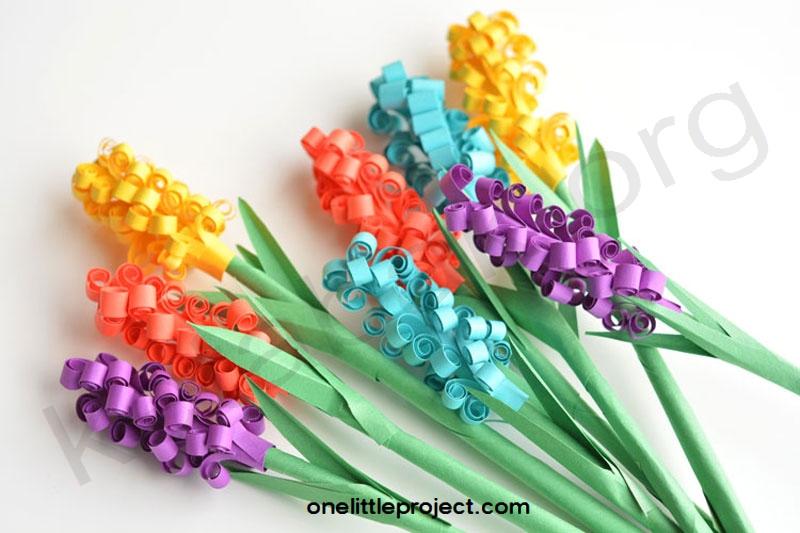 ساخت گل سنبل با مقواهای رنگی