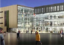 تصویری از ساختمان كتابخانه ی جدید و تالار شهرداری – هنرمند معمار: - هانس ون هی